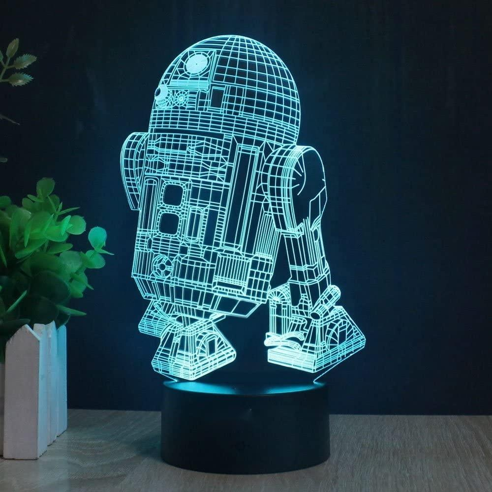 Personalized 3D Lamp R2-D2 Robot Table Night Light  7 Color Change LED Desk Light with Multicolored USB Power