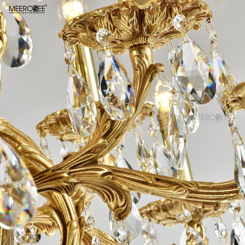 MEEROSEE Copper Gold Chandelier K9 Crystal Brass Light Luxurious Brass Chandelier for Home Hotel Villa MD83092
