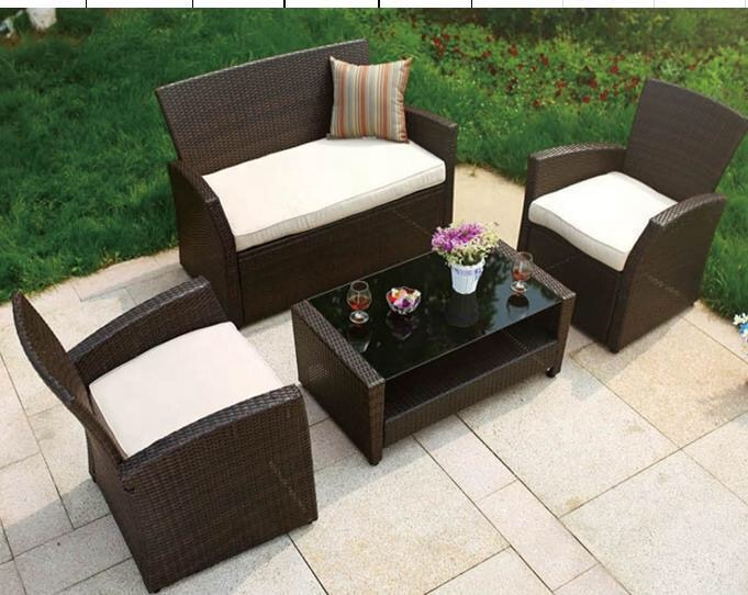 1+1+2+Tea Table Outdoor Furniture Fabric Rattan Patio Garden Sofa Set with Rattan Coffee Table 2021 furniture modern