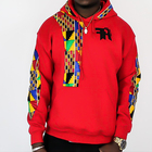 Custom African Plain Red 100% Cotton Wax Fabric Kente Print Long Sleeve Hoodies Men Sweatshirt With Two Pockets