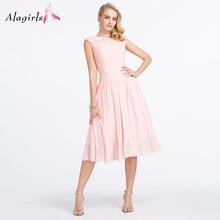 Alagirls Простые платья подружки невесты с рюшами 2020 розовые вечерние платья без рукавов Элегантные Вечерние Платья До Колена размера плюс(Китай)