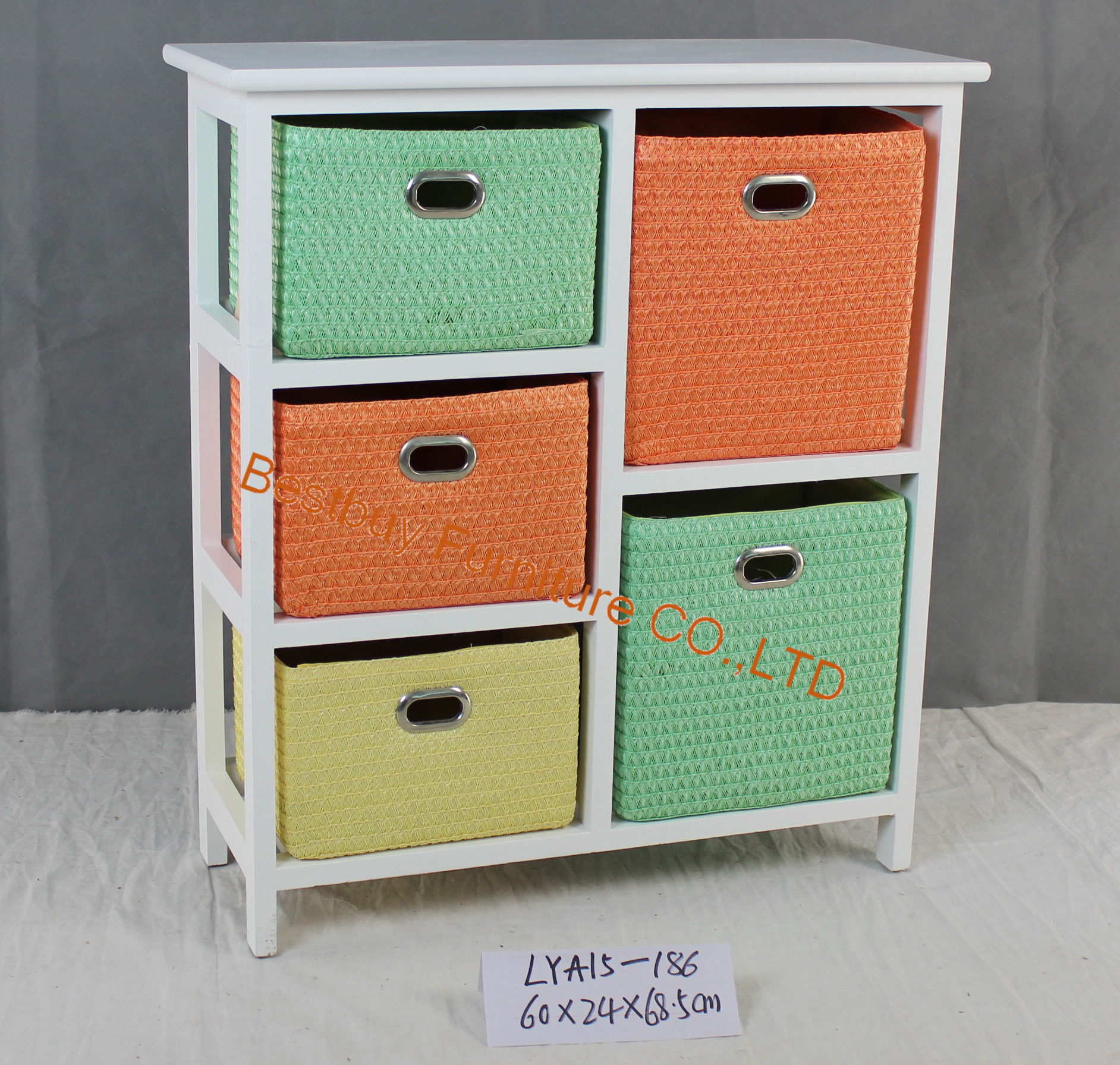 White 3+2 drawer cabinet with extra strong rattan baskets for bathroom, livingroom etc.