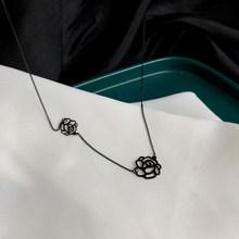 Чокер короткое колье цепь нежное ювелирное ожерелье тонкая цепочка с металлическим цветком черное ожерелье для женщин ювелирные изделия п...(Китай)