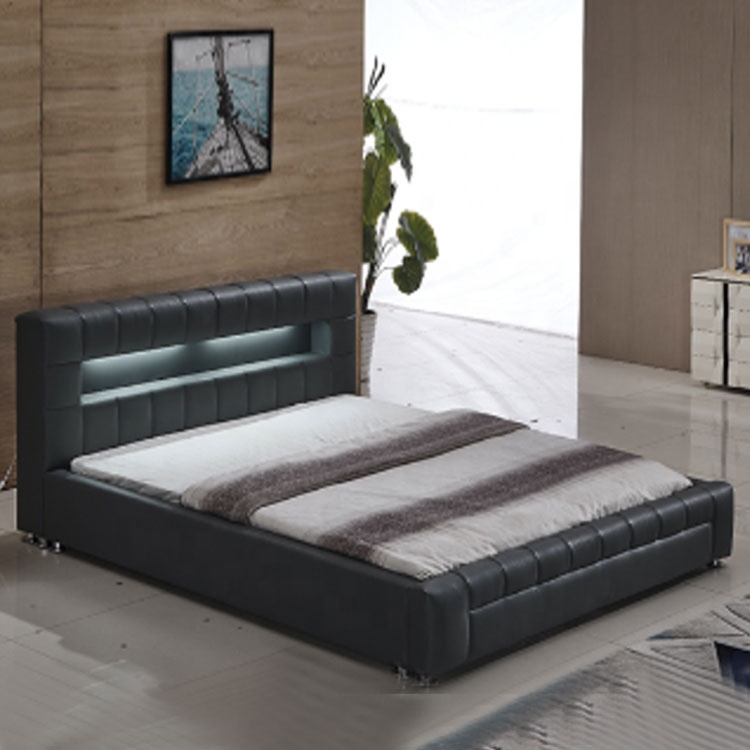 Modern hot selling black artificial leather Led headboard Led bed Asian hotel bedroom furniture