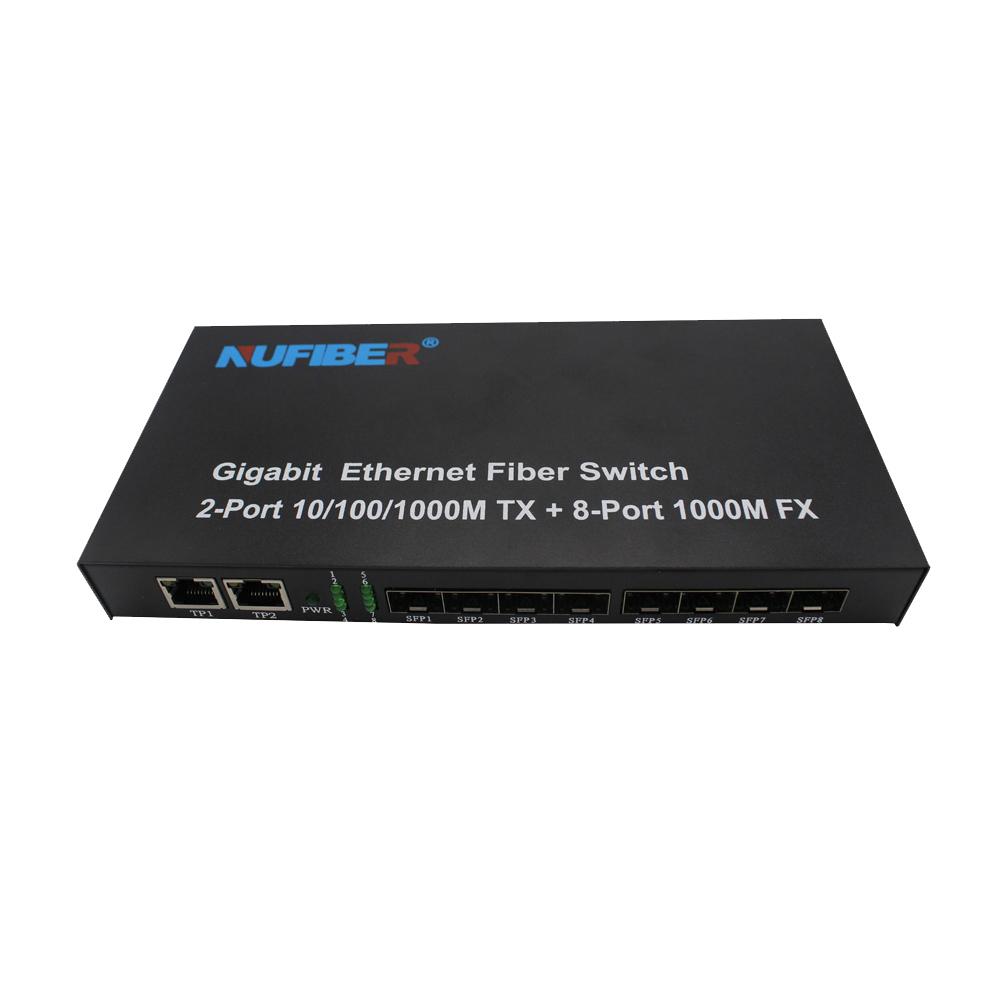Gigabit SFP Ethernet Switch 8*1000M SFP to 2*10/100/1000M Fiber RJ45 Converter 1.25G SFP 8 Port Switch