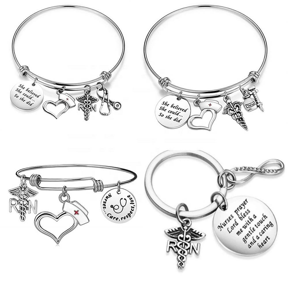Медицинский Браслет, стетоскоп, шапочка медсестры, медицинский браслет с шармами, подарок на выпускной
