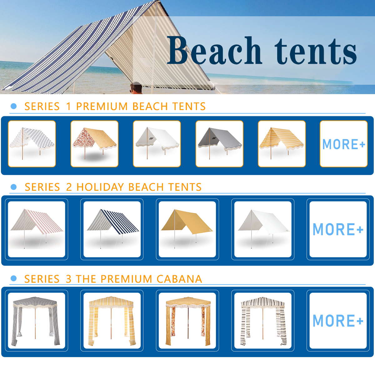 New Luxury Design Customied The Premium Tent Palsley Bay Wooden Stick Outdoor With Fringe Tassels Beach Shade Tents