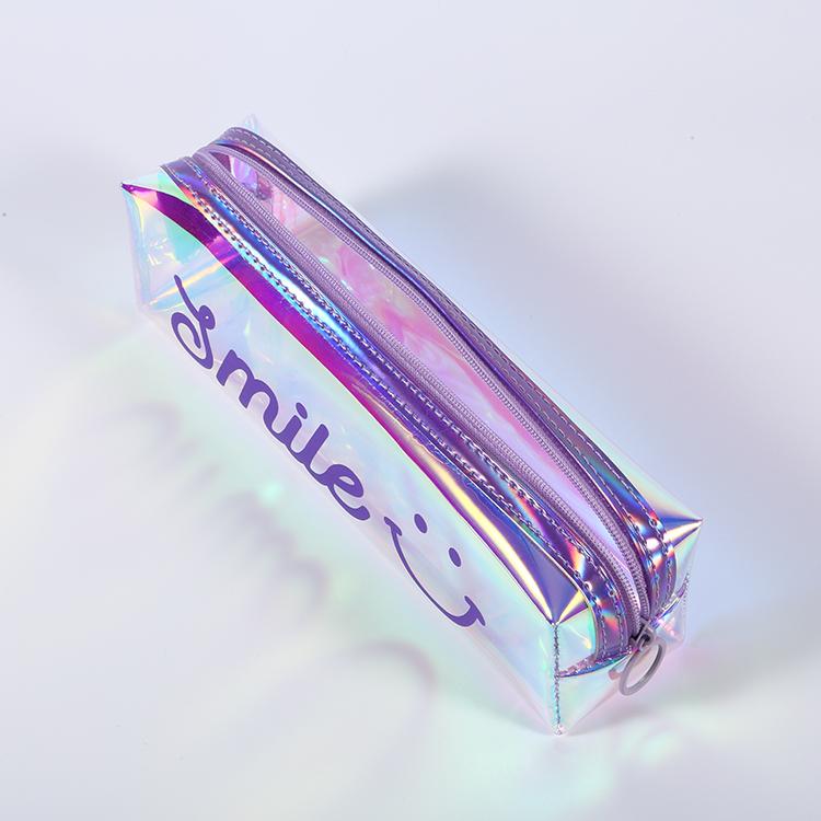 Лазерная Светоотражающая модная косметичка PPU, пенал на молнии для девочек