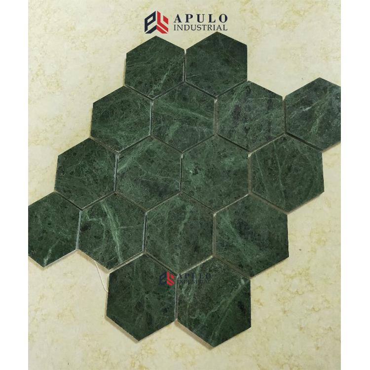 Guangzhou 200x200mm size green marble home mosaic shower tiles diy jade stone granite mosaic floor tile swimming pool