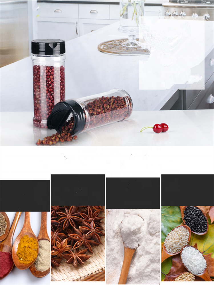8oz PET empty plastic seasoning bottles spice shaker powder containers pepper jar with 53-485 flapper Cap