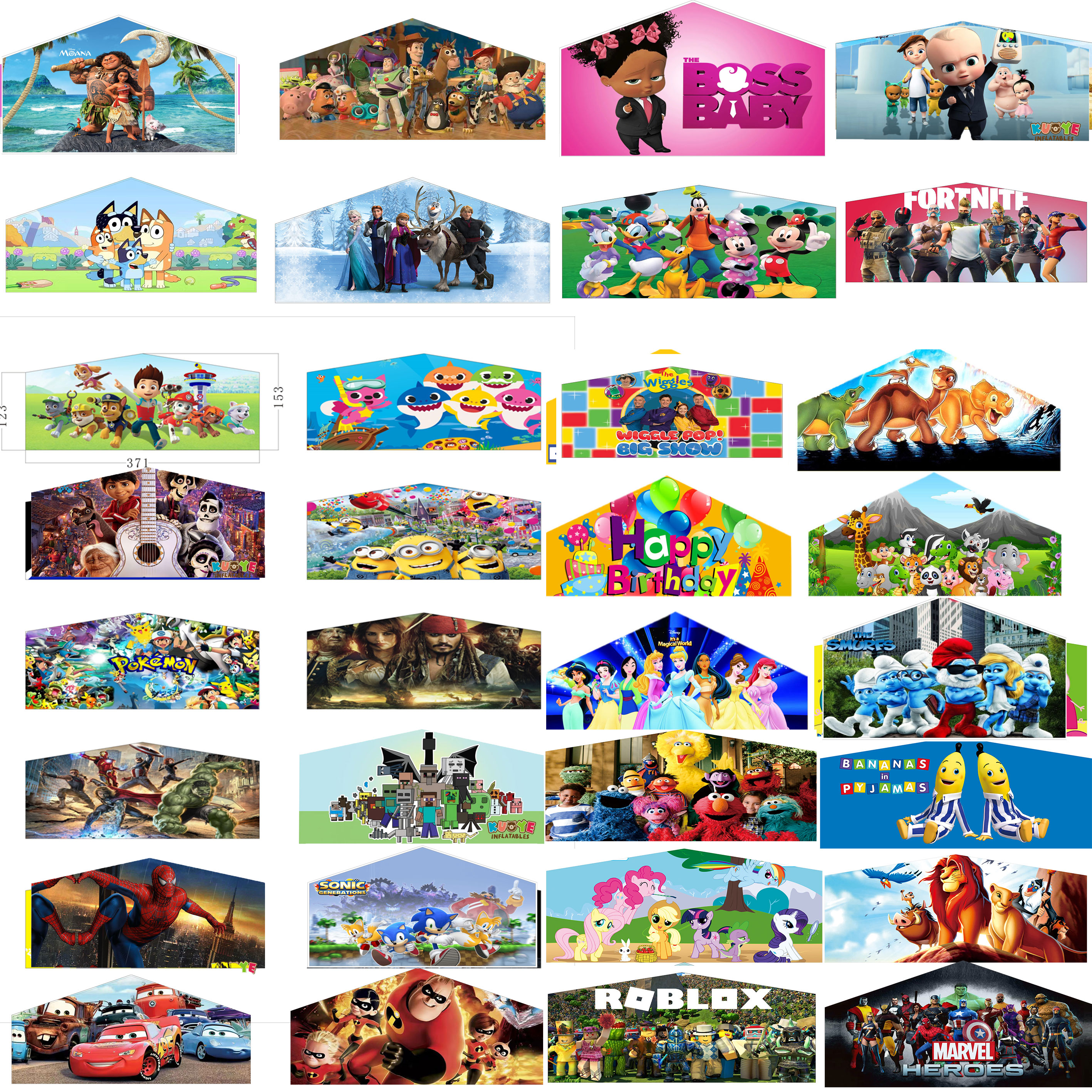 Commercial inflatable bouncer banner bounce castle banner