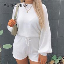 Женский спортивный костюм, летний укороченный Топ с длинным рукавом, повседневный комплект из двух предметов, свободный домашний костюм, же...(Китай)