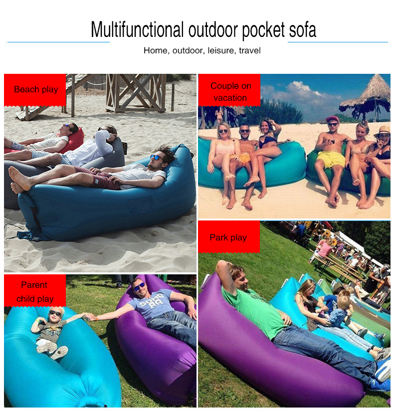 Pool Folding Inflatable Bean Bag Chair Floating Outdoor Waterproof Fast Air Lazy Sofa Lounger Cozy Sleeping