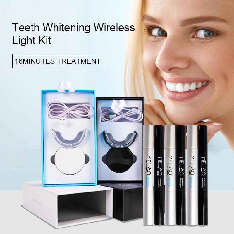 Private label Non Peroxide Gel Wireless Led Teeth Whitening Light Kit For Home Use Home dental Teeth Whitening Kit
