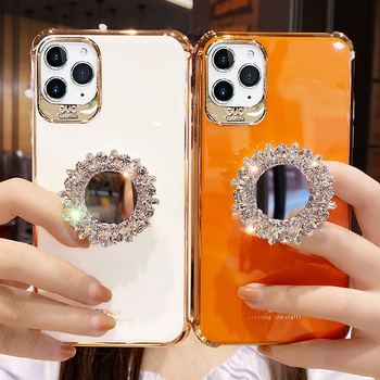 Luxury Electroplate 3D Glitter Bling Rhinestone mirror Bracket soft phone case for iphone X XR XS 11 12 PRO MAX 7 8 plus cover
