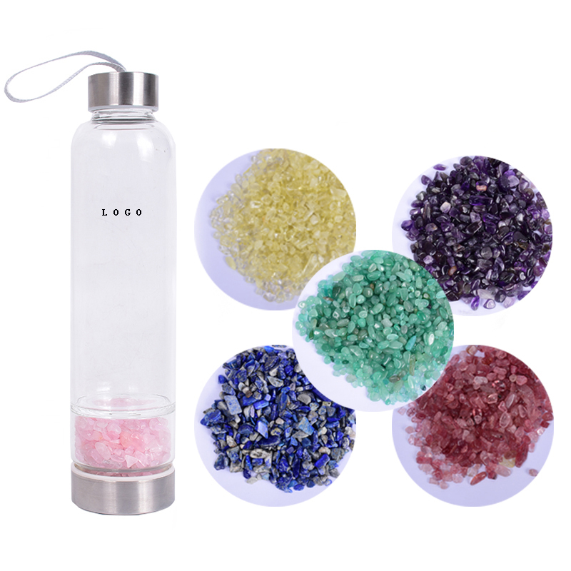 Custom logo Natural Crystal Gravel Stone Glass Water Crystals Stones Crystal Water Bottle