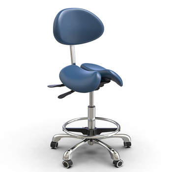 Hi5 ergonomic PU Leather dental saddle chair twin dental saddle stool with backrest saddle chair
