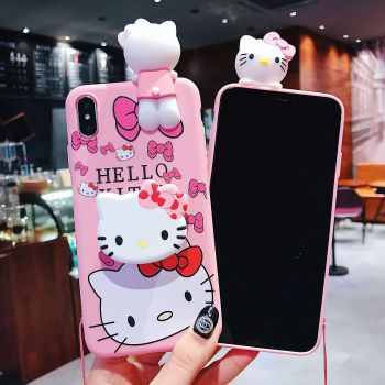 new products for apple iphone 12 cute doll cartoon hello kitty silicone cell phone case and bracket 11 pro max with strap 7plus