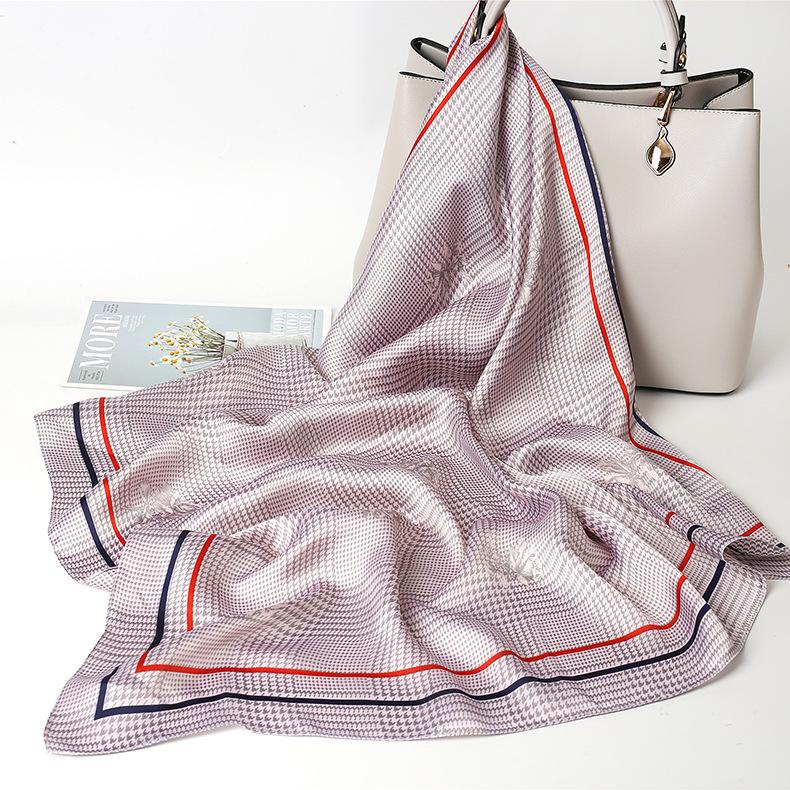 2021 Trade Assurance Wholesale Lady Multicolor 70x70 Soft Square Silk Head Scarf