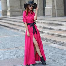 Женское платье-рубашка макси весна-лето 2020, элегантное голубое черное платье с длинным рукавом, Vestido LQ-1709(Китай)
