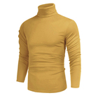 Pullover Custom Logo Cotton Men's Casual Slim Fit Basic Tops Knitted Thermal Turtleneck Knit Pullover Sweater Solid Sueters For Man