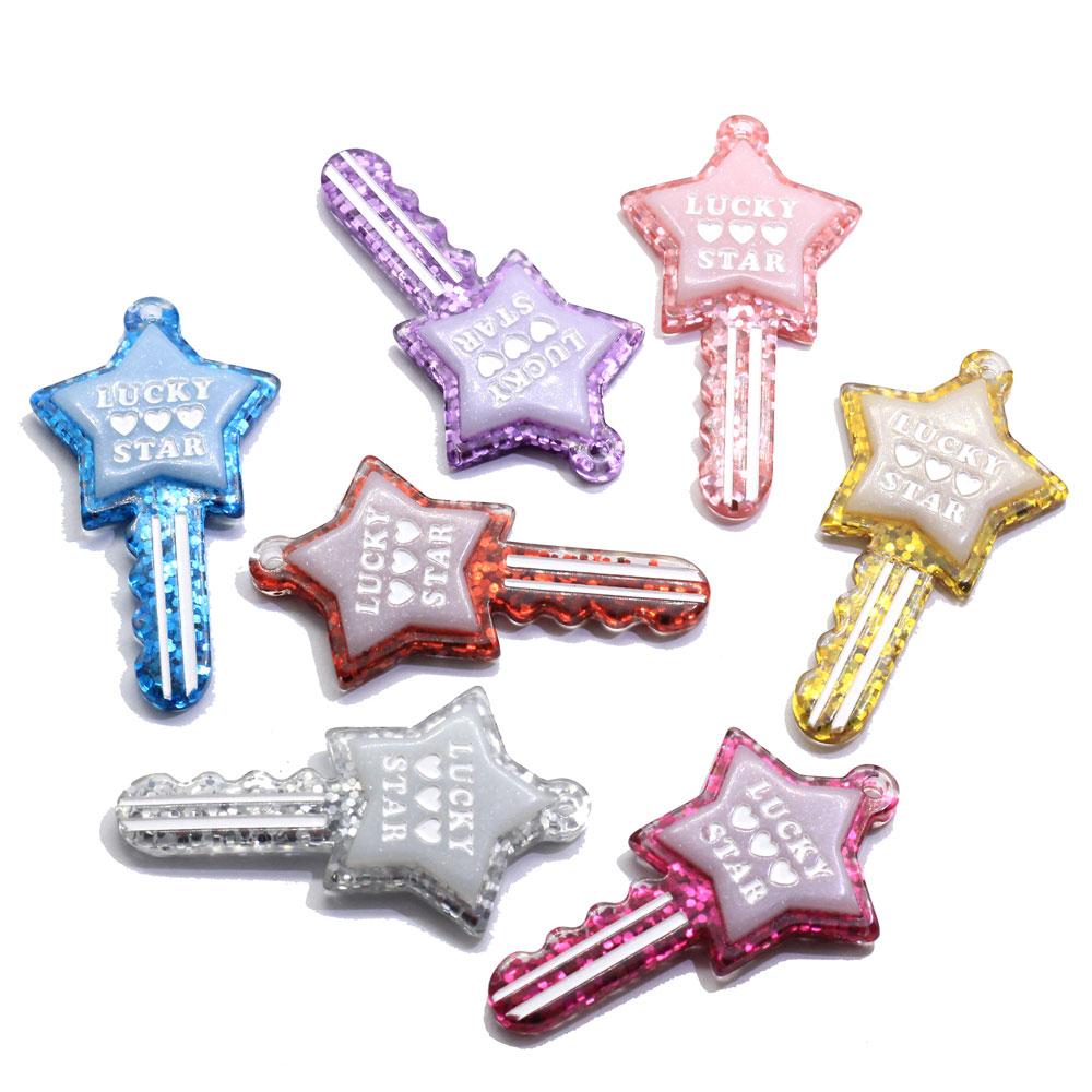 Горячая распродажа 100 шт сверкающий блеск удачи Сердце Звезда пять звезд Форма Смола Брелоки для ключей Подвеска для Diy брелоки украшения