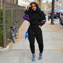 2019 осенне-зимний женский свитер с длинными рукавами, топ, штаны для бега, костюм, комплект из двух предметов, модная спортивная одежда, спорт...(Китай)