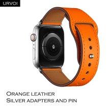 URVOI ремешок для apple watch series 5/4, 3/2/1, ремешок для iWatch 40, 44 мм, спортивный ремешок из натуральной кожи с застежкой-липучкой, ручная работа(Китай)