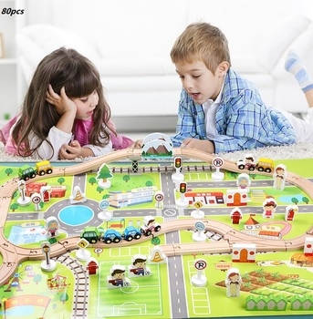 2021 Self-Assembly Wholesale Urban Rail Overpass Traffic Scene Combined Train Tracks Toys Wood Puzzle Railway Train toys