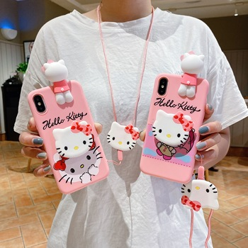 For iPhone 12 Mini Pro Max Hello Kitty Cute 3D Doll Holder Stand Strap Cartoon Papa Phone Case