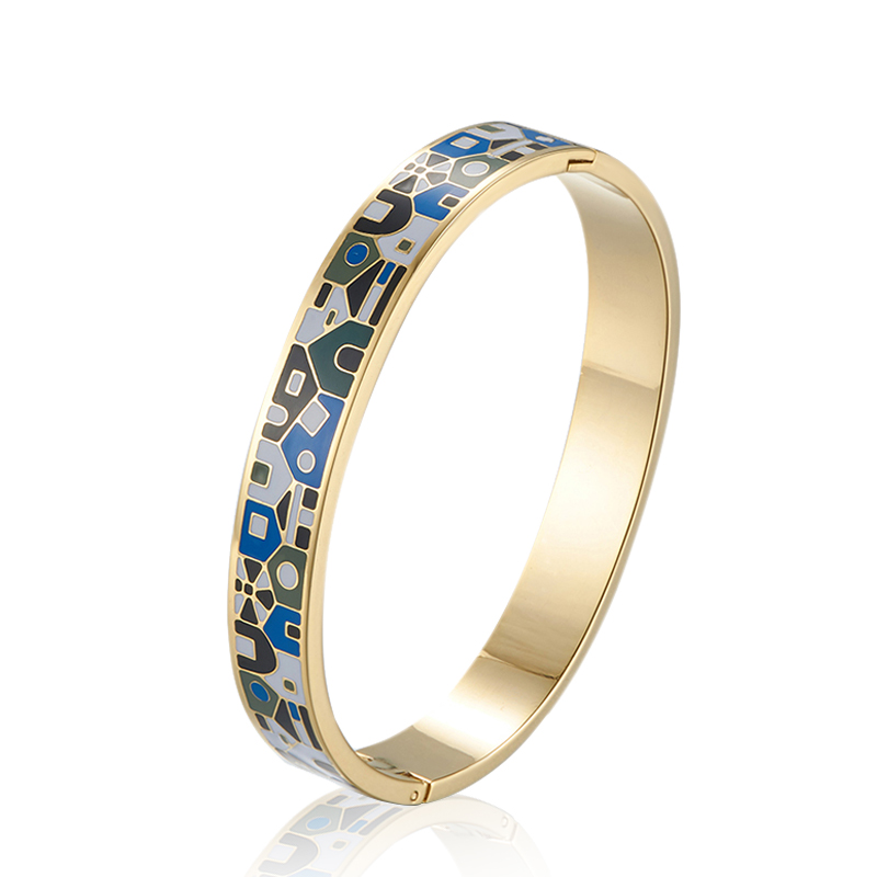 Fashion Style Chinese New Design Stainless Steel Bracelet 18K Gold Enamel Gold Plated Colorful Bangle couple