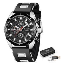 2020 LIGE новые спортивные мужские часы Топ люксовый бренд часы для мужчин силиконовые наручные водонепроницаемые кварцевые часы Relogio Masculino(Китай)