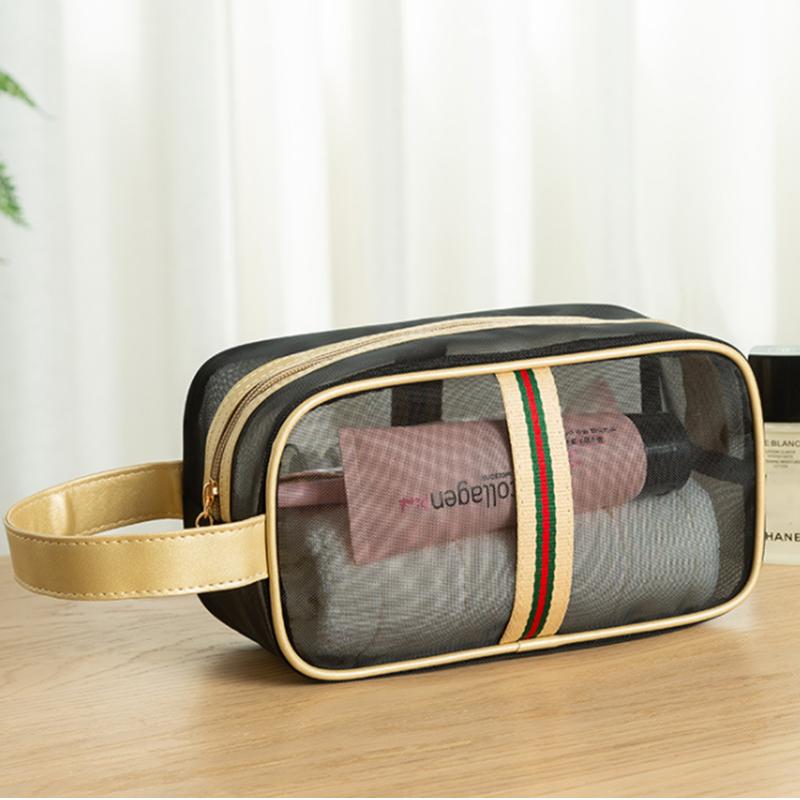 Korean brand mesh portable storage toiletry cosmetic bag large capacity travel transparent bag breathable toiletry storage bag