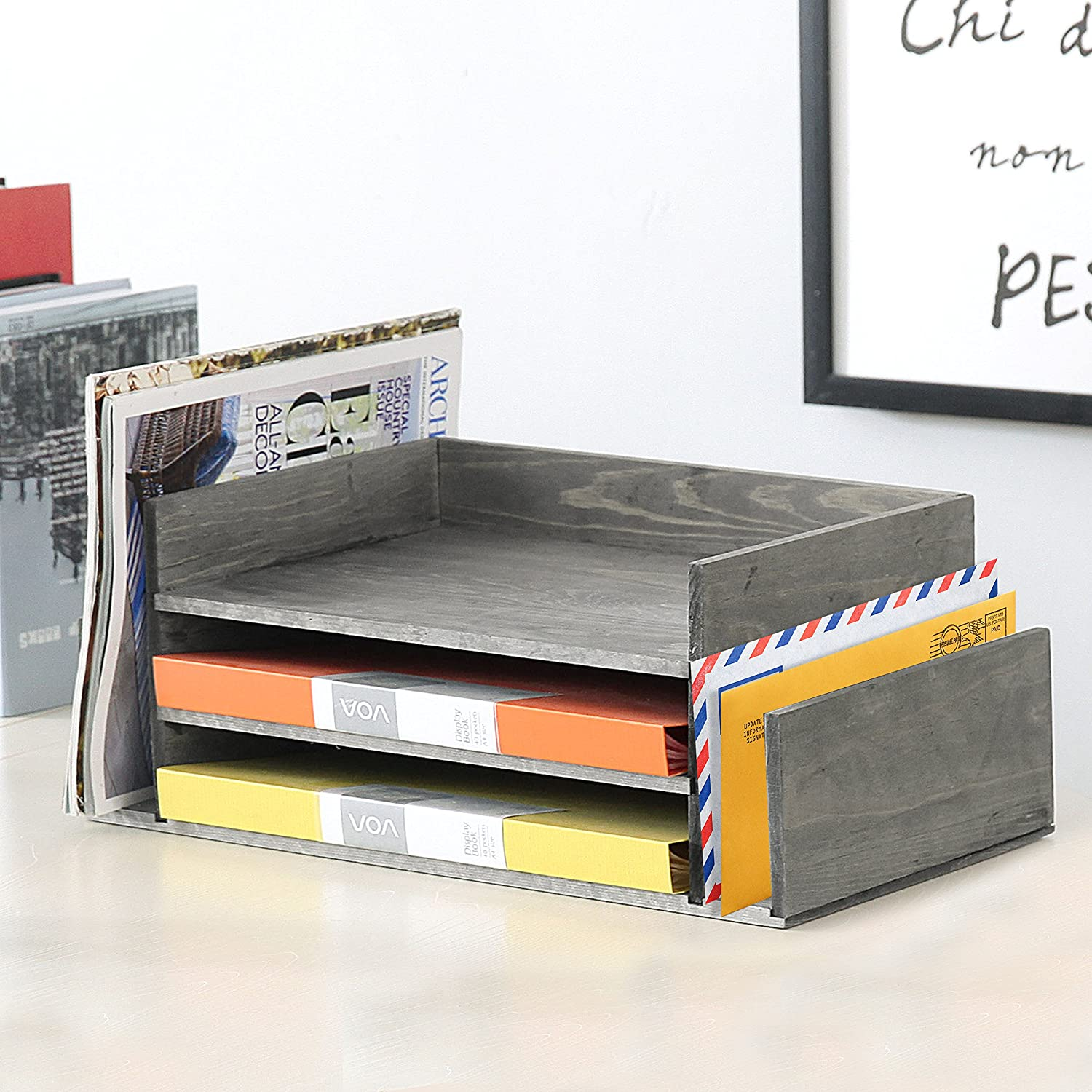 Weathered gray wood 3-layer office desktop file tray and mail classification rack storage rack