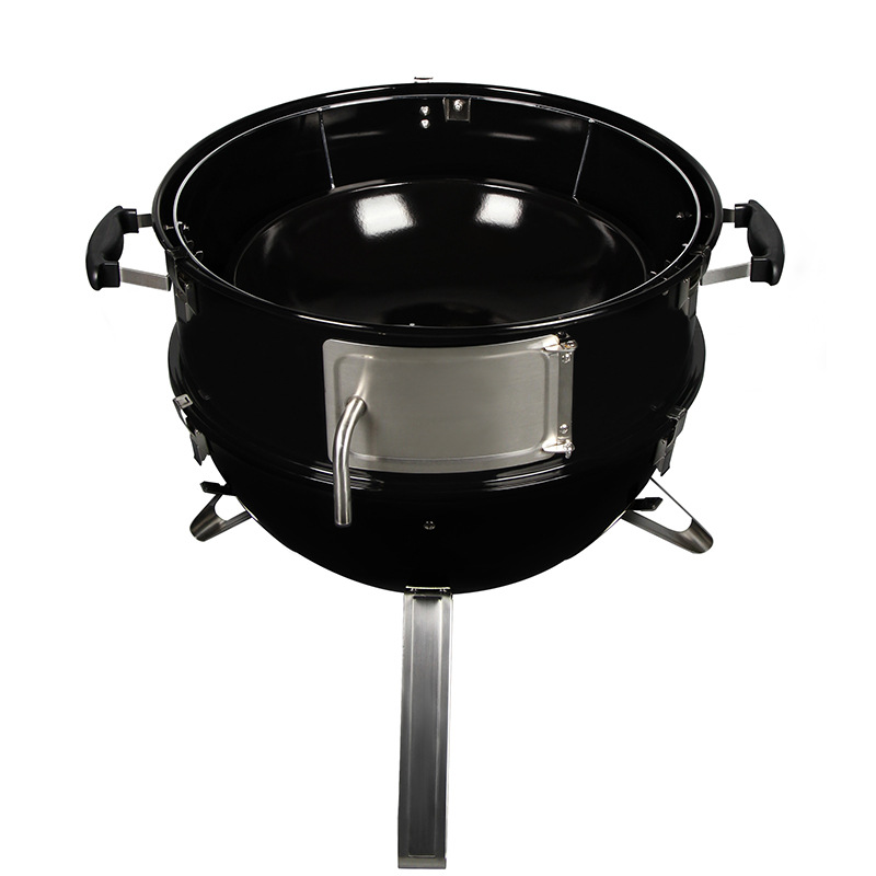 Commercial 22 inch double layer round easily cleaned smoker grill with attached lid