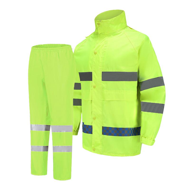 Хорошо разработанный Защитный Водонепроницаемый Флуоресцентный цветной светоотражающий дождевик с логотипом на заказ, наборы рубашек и брюк