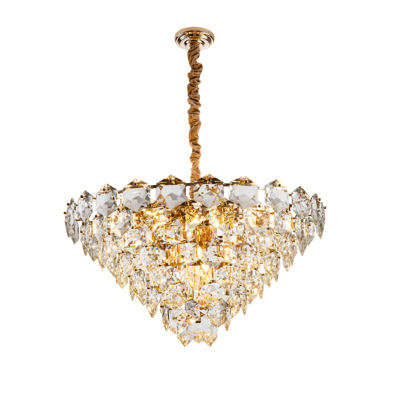 Meerosee Classic Crystal Pendant Light Big Size Crystal Hanging Light with Gold Iron Material for Living Room MD86745