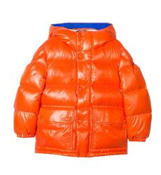 The Unisex Thick Children's Orange Color Cotton-Padded Jacket Outdoor Boys Girls Custom Fashion Shing Goose Vinyl Puffy Jackets