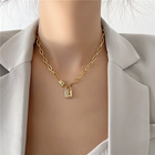 Lock Chain For Hot Sale African Gold Plated Pin Lock Necklace Lock Chain Stainless Steel Necklace For Women