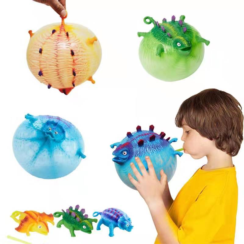 Amazon Hot selling Novelty Dragons Decompress Balls Toys Kids Inflation TPR BOBO Ball Toys Promotional Gift