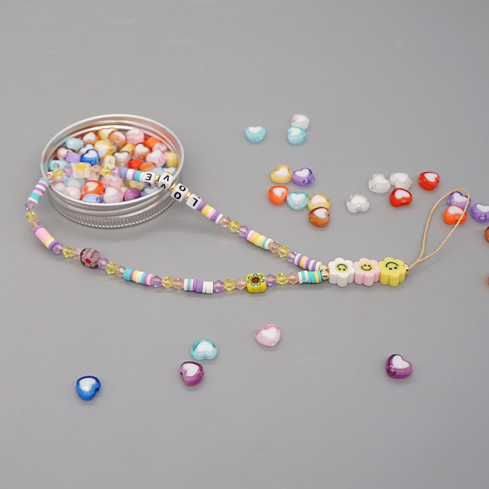 2021 new smiley soft ceramic mobile phone chain LOVE letter beads beaded anti-lost mobile phone lanyard female jewelry