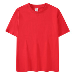 2021 new thick T-shirt round neck loose cotton solid color trend Street men's T-shirt