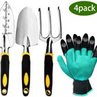 Factory OEM 4 pcs Pack Garden Tool Set 3 Piece Cast-Aluminum Gardening Kit Includes Hand Trowel Gift Box