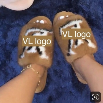 2021 New Design Fashion Ladies Sandals Custom letters logo Inspired Mink Fur Slides/Women Real Fur Slippers Wholesale Price
