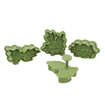Food grade plastic green 4 leaf cake cookie decoration fondant plunger cutters and molds set