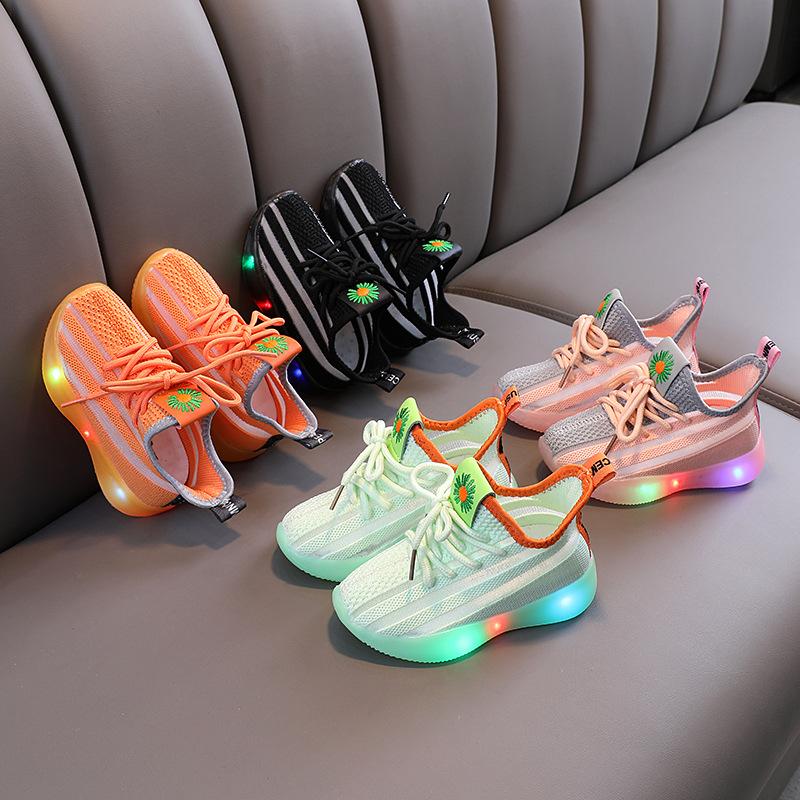 2021 крутая мода, Лидер продаж, весенне-осенние кроссовки для мальчиков, симпатичный детский детская обувь для маленьких мальчиков и девочек теннис милые светодиодный свет для малыша; На каждый день;