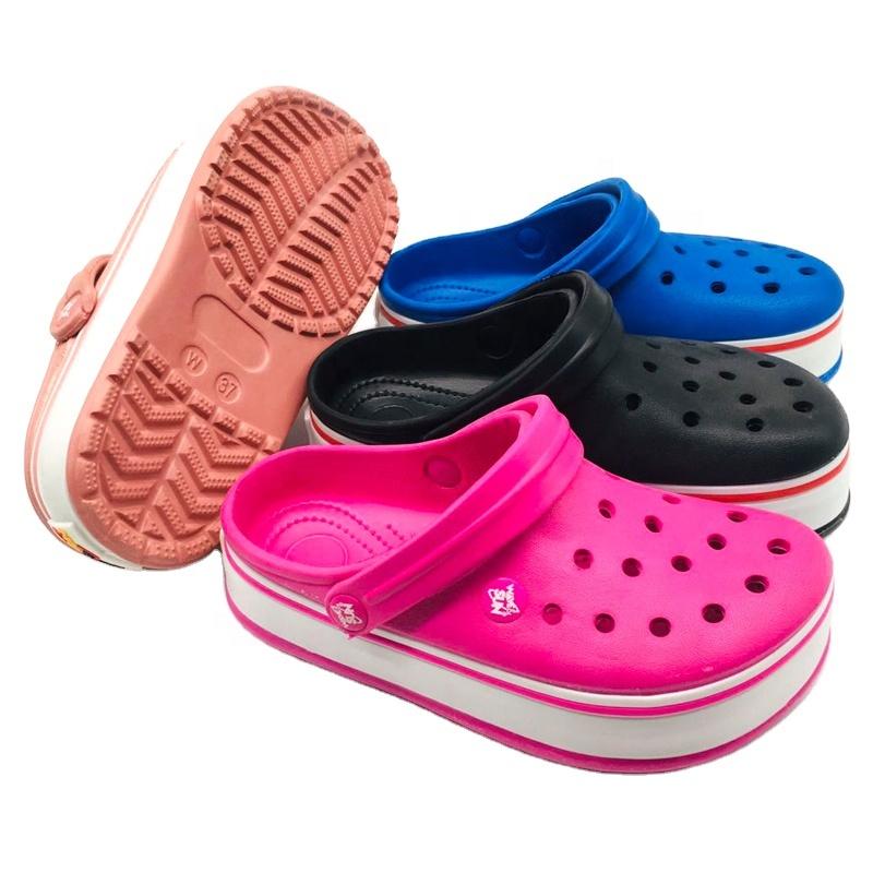 2021 EVA high platform shoes for kid's men's and women's classic clog garden shoes flat slide  beach sandals casual clogs