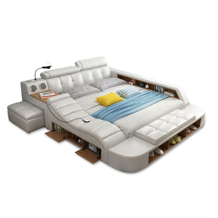 modern luxurious style tufted upholstered wholesale multifunction massage bed with massage giant tatami smart bed