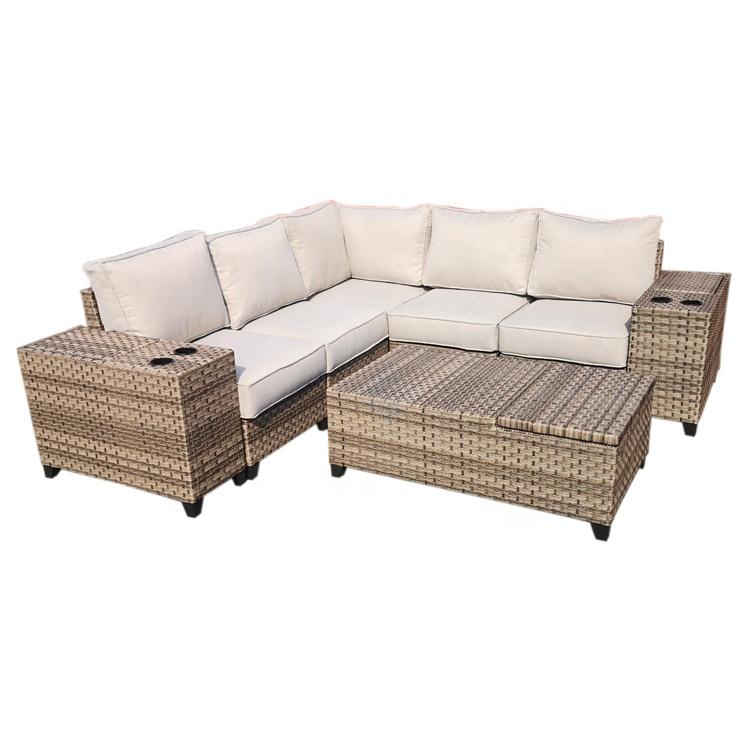Outdoor rattan sofa garden furniture terrace villa rattan sofa combination set