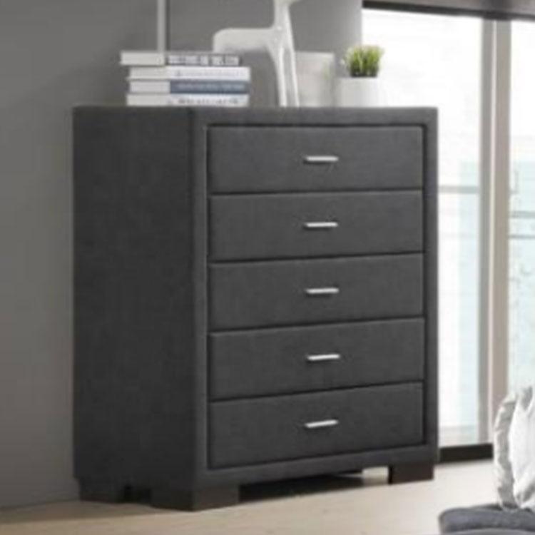 Bedroom living room gray fabric modern 5 drawer chest of drawer